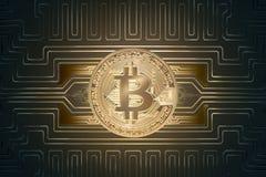 Soldi virtuali del bitcoin dorato Immagine Stock