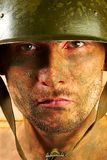 Soldier. The soldier in a military helmet stock photo