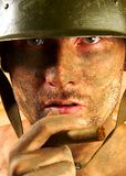Soldier. The soldier in a military helmet stock images