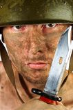Soldier. The soldier in a military helmet Stock Photography