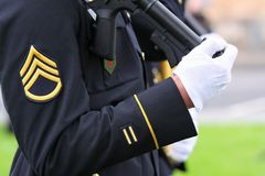 Soldier. Part of the ceremonial military uniforms of the U.S. Army royalty free stock images