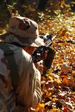 Soldier. Image of one soldier that is in combat situation with sniper royalty free stock photo
