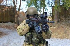 Soldier. With czech an assault rifle sa vz.58 stock image