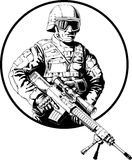 Soldier. Black and white illustration of soldier with sniper rifle. Ring around figure can be easily removed Royalty Free Stock Photography