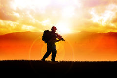 Soldier. Silhouette illustration of a soldier on the field Royalty Free Stock Image
