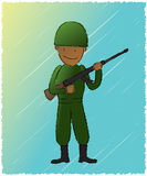 Soldier. Represent a soldier holding a riffle Royalty Free Stock Photography
