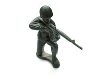 Soldier. Green toy soldier isolated on white royalty free stock photos