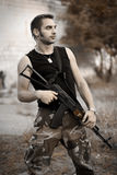 Soldier. Army soldier with the machine gun stock photography