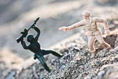 Soldier. Toy soldier in ground war Stock Images