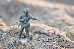 Soldier. Toy soldier in ground war Royalty Free Stock Photography