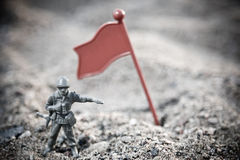 Soldier. Toy soldier in ground war Royalty Free Stock Photo