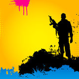 Soldier on an abstract background Stock Photos