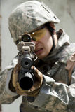 Soldier in action Stock Images