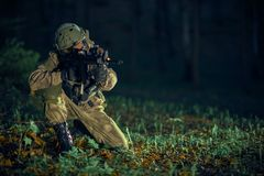 Soldier in Action Royalty Free Stock Images