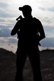 Soldier against the sun Stock Photos