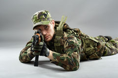 Soldier aiming Royalty Free Stock Photography