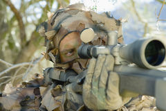 Soldier Aiming Through Gunsight Royalty Free Stock Photos