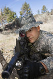 Soldier Aiming Machine Gun Stock Photos
