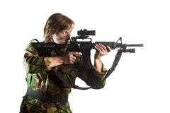 Soldier aiming a riffle Royalty Free Stock Images