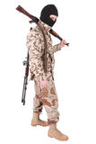 Soldier with AK rifle. Isolated on white Stock Photo