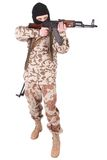 Soldier with AK rifle. Isolated on white Stock Image