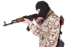Soldier with AK rifle Stock Photography
