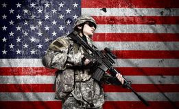 Soldier on american flag background Royalty Free Stock Photos
