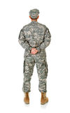 Soldier: Anonymous Soldier from Behind. Series with a female as a solidier in an United States Army uniform.  Numerous props convey a variety of concepts Stock Images