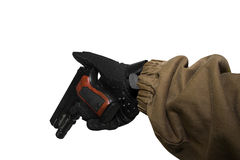 soldier arm holding a reloaded gun. Stock Photos