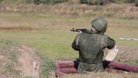 Submachine gunner stock footage