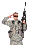 Soldier with assault rifle Royalty Free Stock Images