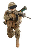 Soldier with assault rifle on white Royalty Free Stock Images