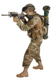 Soldier with assault rifle on white Stock Images