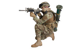 Soldier with assault rifle on white Royalty Free Stock Photography