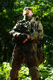The soldier with automatic rifle Stock Image