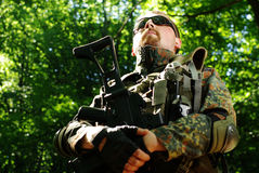 The soldier with automatic rifle Stock Photography