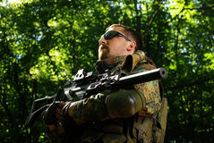 The soldier with automatic rifle Royalty Free Stock Photos