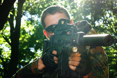 The soldier with automatic rifle Royalty Free Stock Image