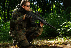 The soldier with automatic rifle Royalty Free Stock Images