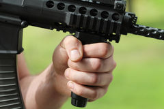 Soldier  with automatic weapon Stock Image