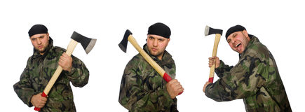 The soldier with axe isolate on white Royalty Free Stock Images