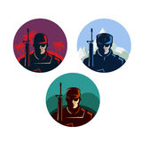 Soldier badges or avatars set. Silhouette with rifle. Vector flat design. Marine in different countries. Royalty Free Stock Images