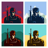 Soldier badges or avatars set. Silhouette with rifle. Vector flat design. Marine in different countries. Stock Photos