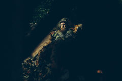 Soldier in the barricade with the gun Royalty Free Stock Photos