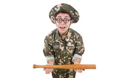 Soldier with baseball bat Royalty Free Stock Image