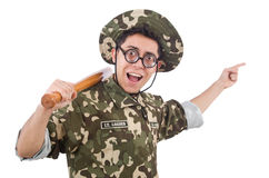 Soldier with baseball bat Royalty Free Stock Images