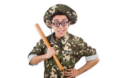 Soldier with baseball bat Stock Image