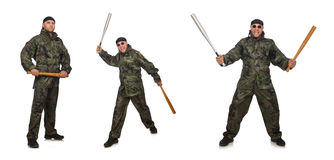 The soldier with baseball bat on white Royalty Free Stock Images