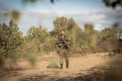 Soldier on battle field. Horizontal picture of soldier on battle field Stock Photos