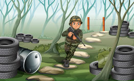 A soldier in the battlefield. Illustration of a soldier in the battlefield Royalty Free Stock Images